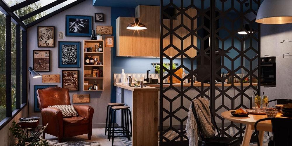Separation Cuisine Et Salon Avec Panneaux Ajourés