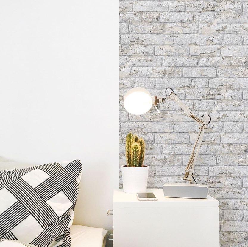 13 Papier Peint Briques Ecaillees Blanches Koziel