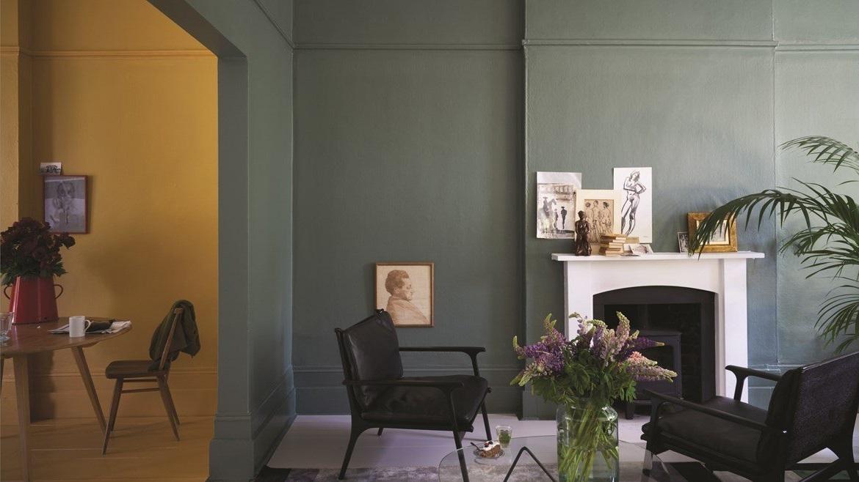 Peinture Couleur Salon Vert Gris Green Smoke N47 India Yellow N66