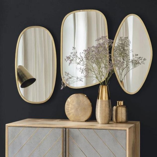 3 Miroirs En Métal Doré, Miroir Mural