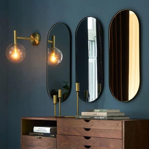 3 Miroirs En Métal Noir, Miroir Mural