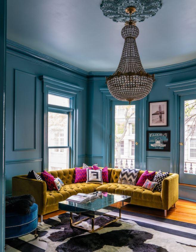 Peinture Salon Couleur Bleu Intermediaire Stone Blue N86 Dix Blue N82