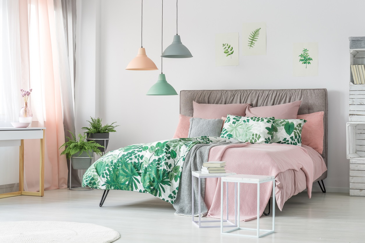 Pastel Beddings On Stylish Bed