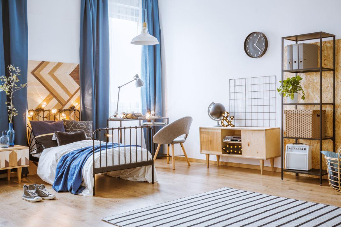 Chambre Scandinave Bleu Et Bois