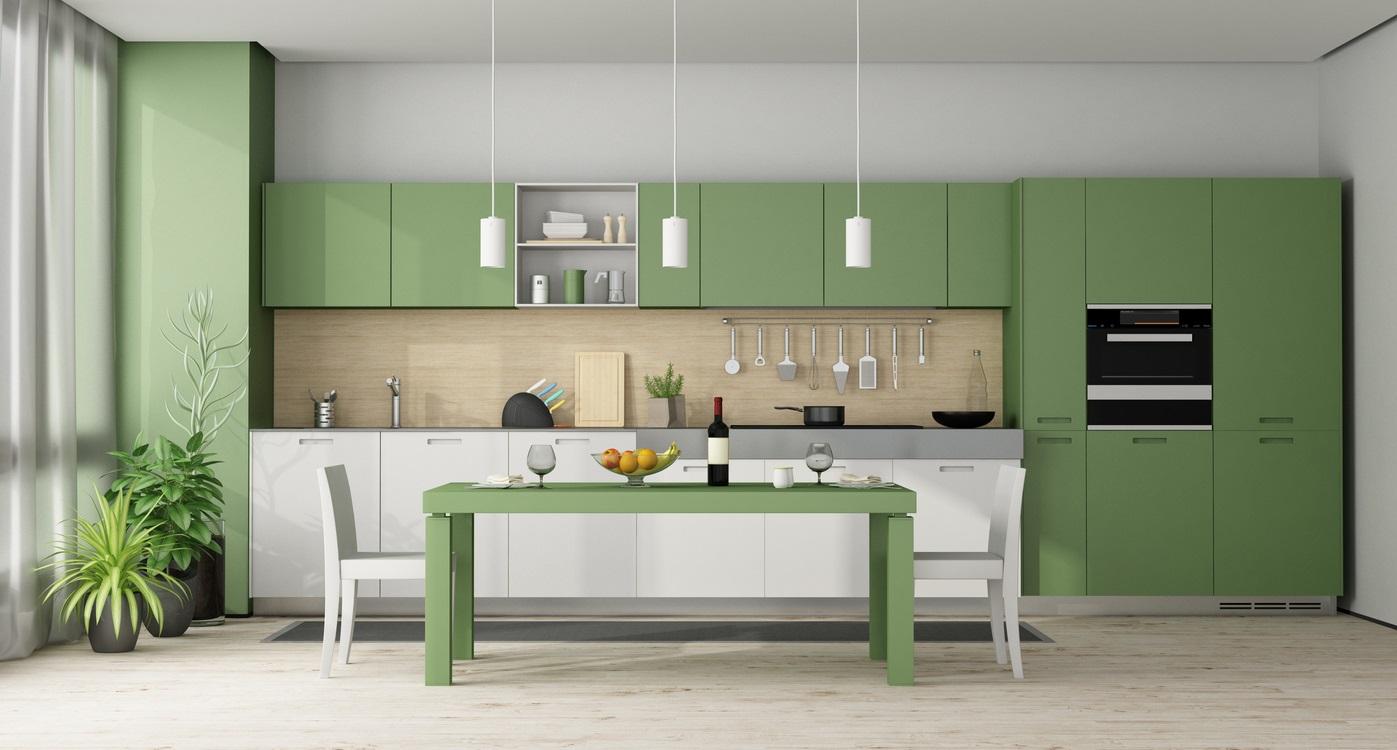 Cuisine moderne verte et blanche