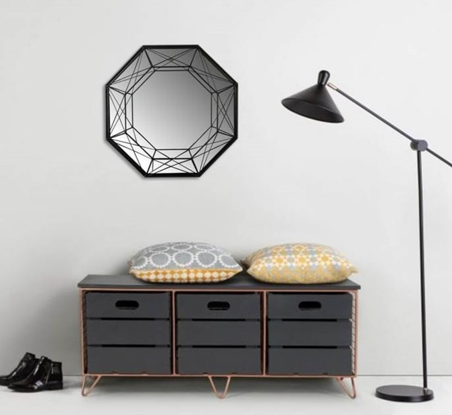Grand Miroir Mural Hexagonal