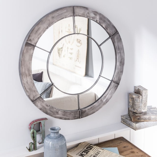 Grand Miroir Mural Rond Acier