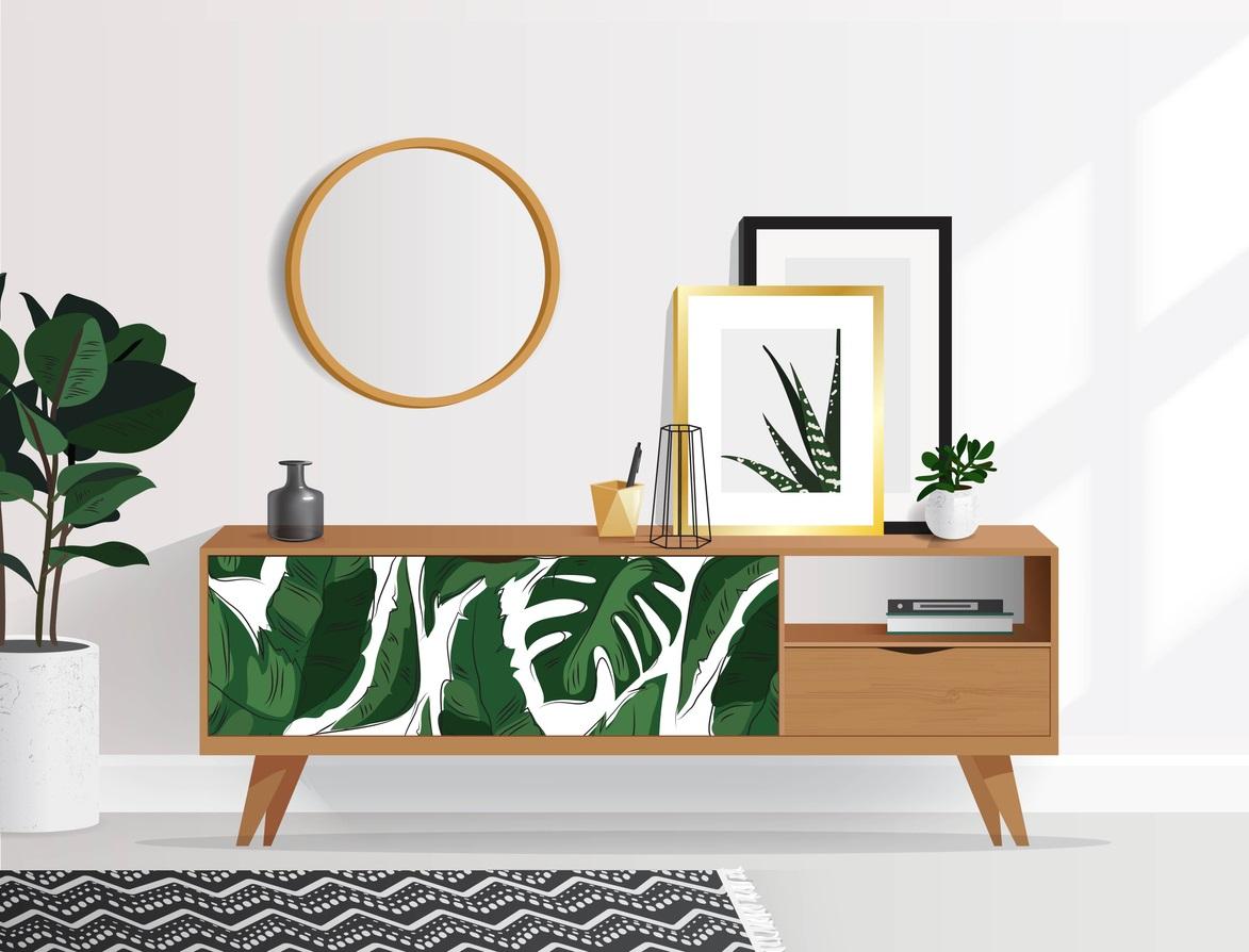 Meuble papier peint tropical