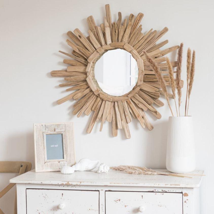 Miroir Rond Bois Flotte Maison Du Monde