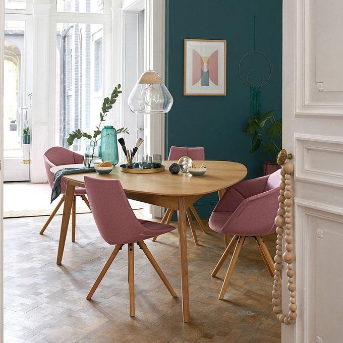 Salle A Manger Bleu Et Rose Poudre Chaise Rose Poudre 18450 La Redoute