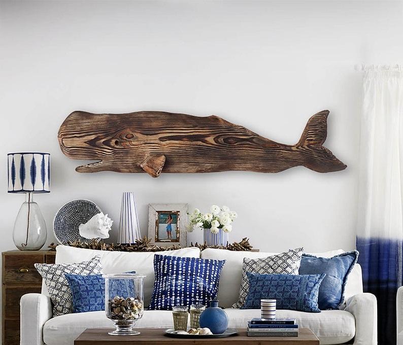 Salon Avec Tableau Baleine En Bois Flotte Etsy