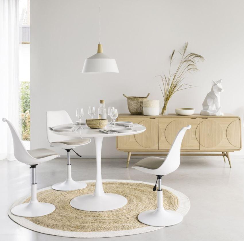 Table Ronde Blanche Retro
