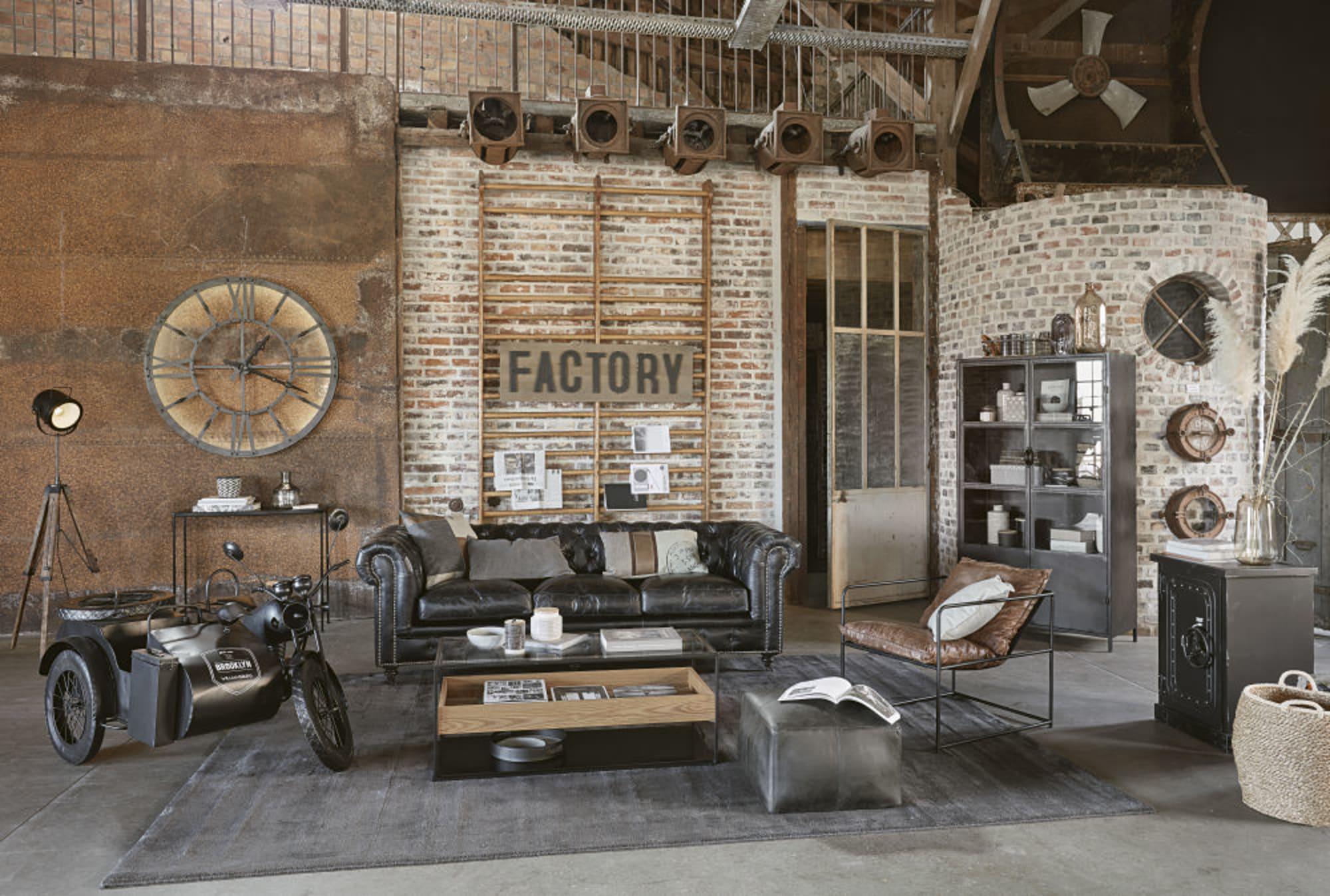 Table Basse En Verre Trempe Et Metal Style Atelier