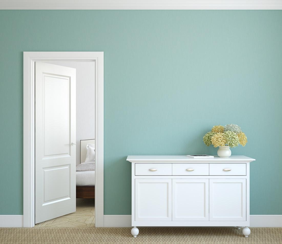 Buffet Blanc Et Mur Bleu Turquoise