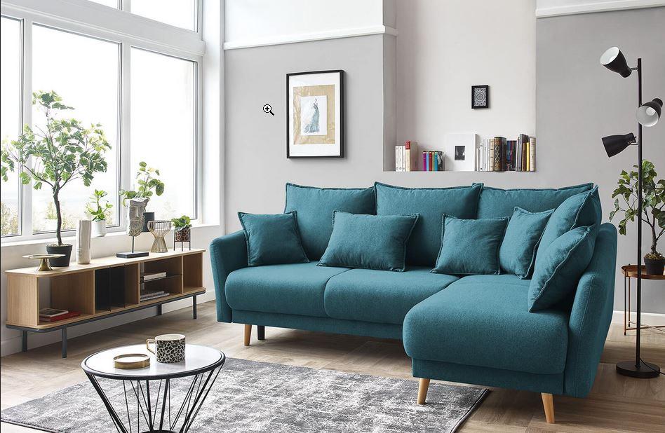 Canapé Bleu Pétrole Et Mur Gris