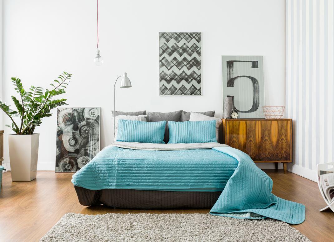 Chambre Avec Lit Bleu Turquoise