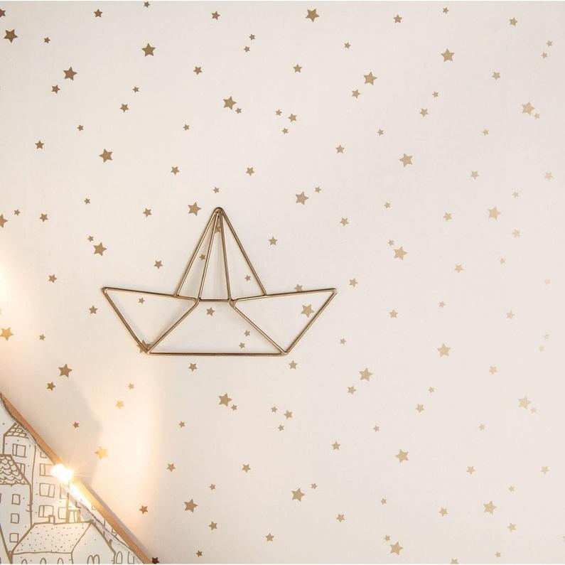 Chambre Avec Papier Peint Blanc étoilé