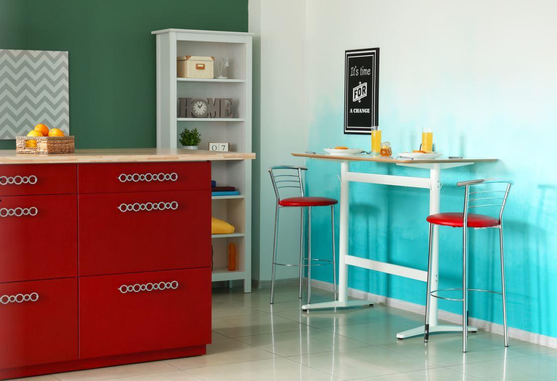 Cuisine Bleu Turquoise Et Rouge