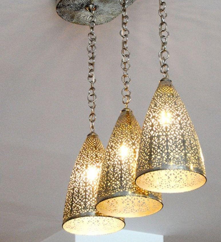 Lustre Avec Lampes Marocaines En Laiton