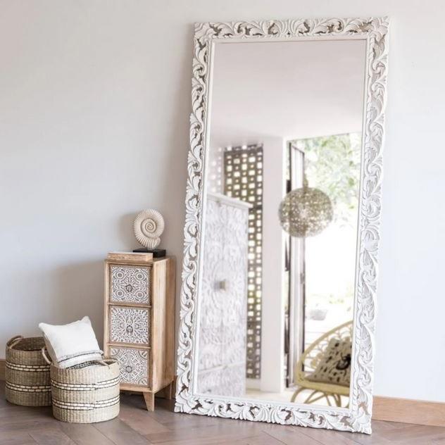 Miroir En Manguier Sculpté Blanc, Miroir Mural
