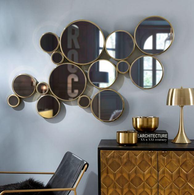 Miroir En Métal Doré, Miroir Mural