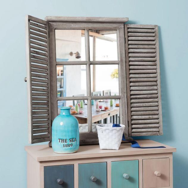 Miroir En Sapin Avec Volets Rabattables, Miroir Mural