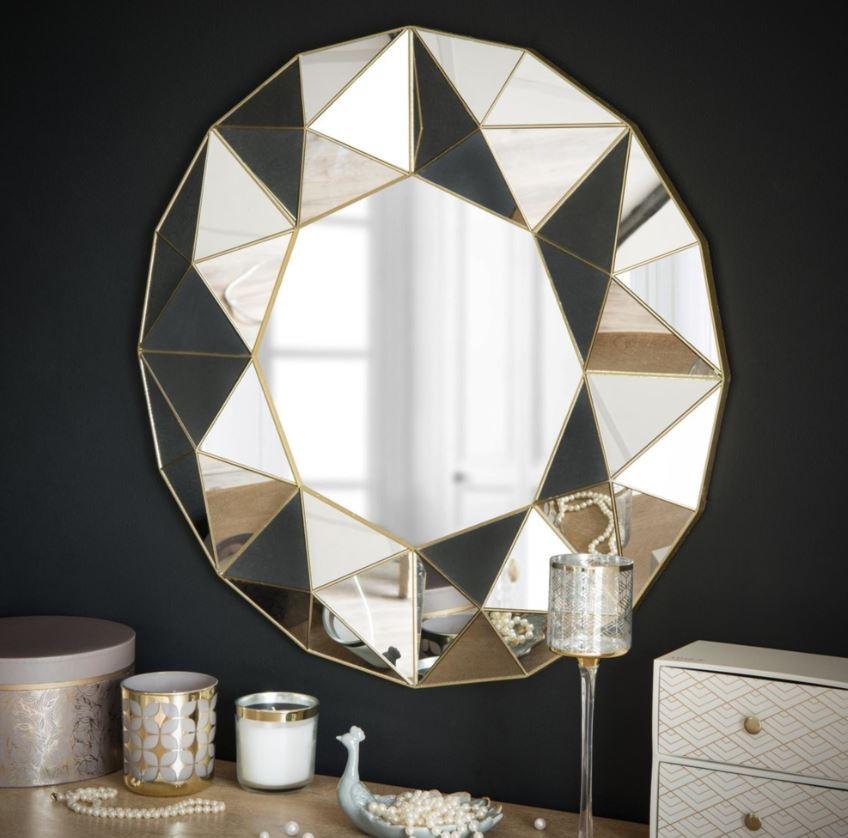 Miroir Rond à Relief Géométrique