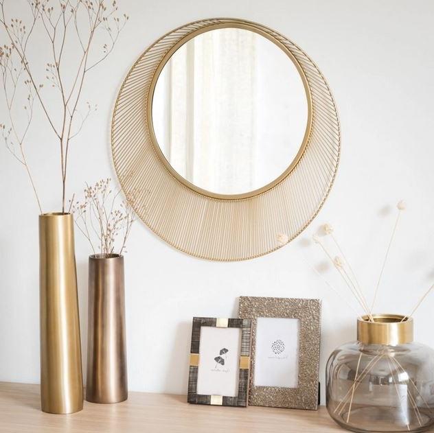 Miroir Rond En Métal Irisé, Miroir Mural