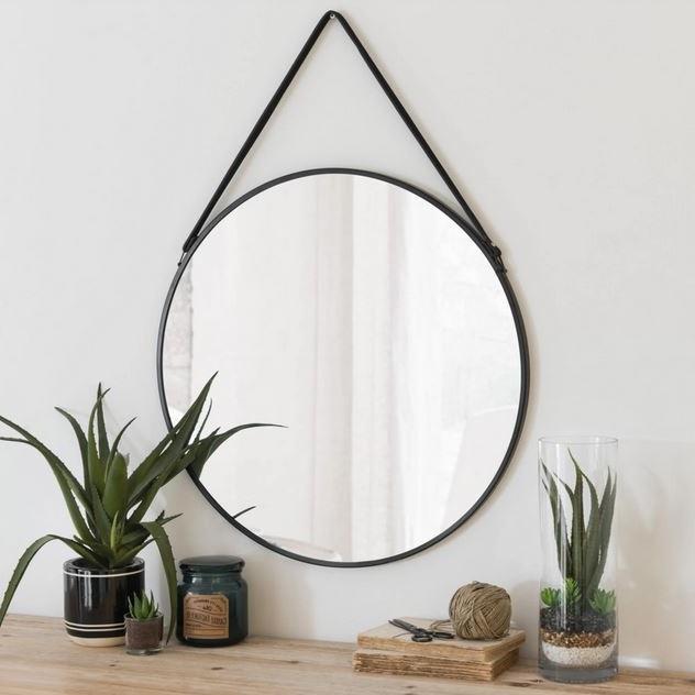 Miroir Rond En Métal Noir, Miroir Mural