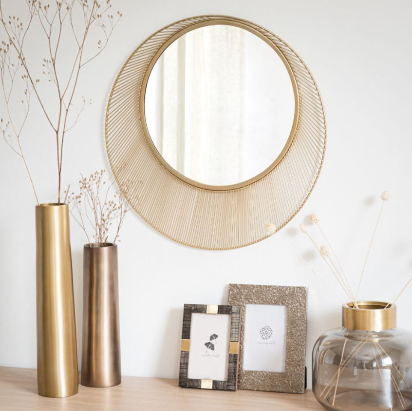 Miroir Rond En Métal Or