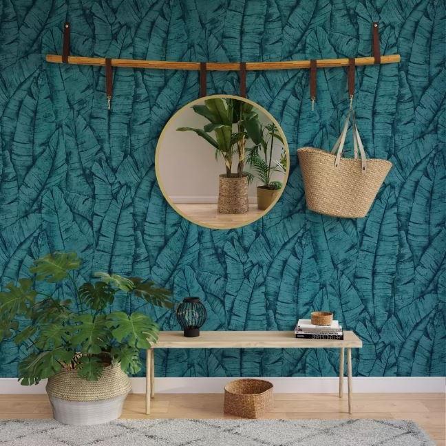 Mur Bleu Pétrole Végétal
