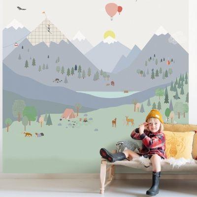 Papier Peint Pour Chambre D'enfant Motif Montagne