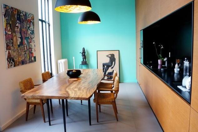 Salle à Manger Bleu Turquoise Et Bois