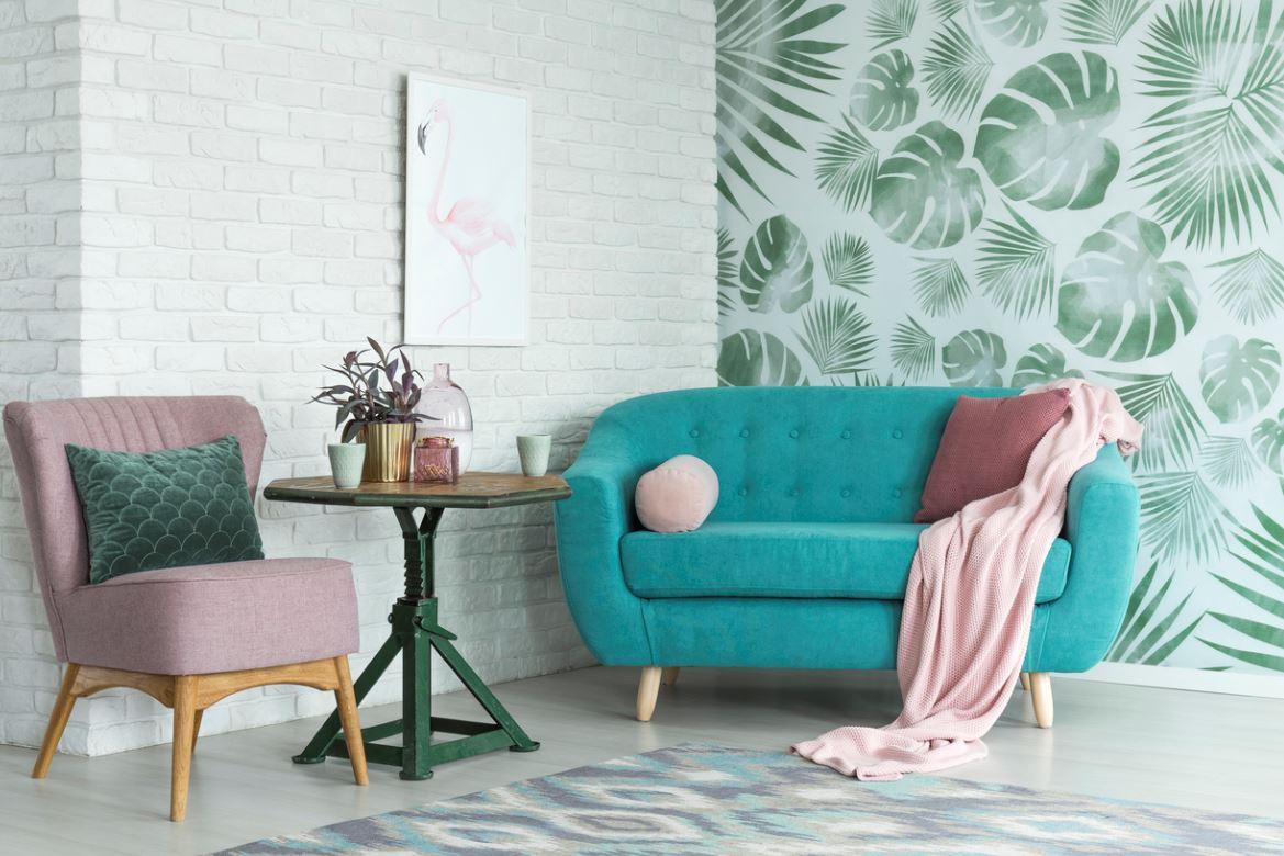 Salon Avec Canapé Bleu Turquoise