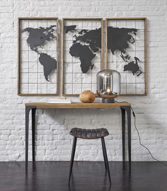Triptyque Carte Du Monde En Métal Noir Et Sapin, Cadre Déco