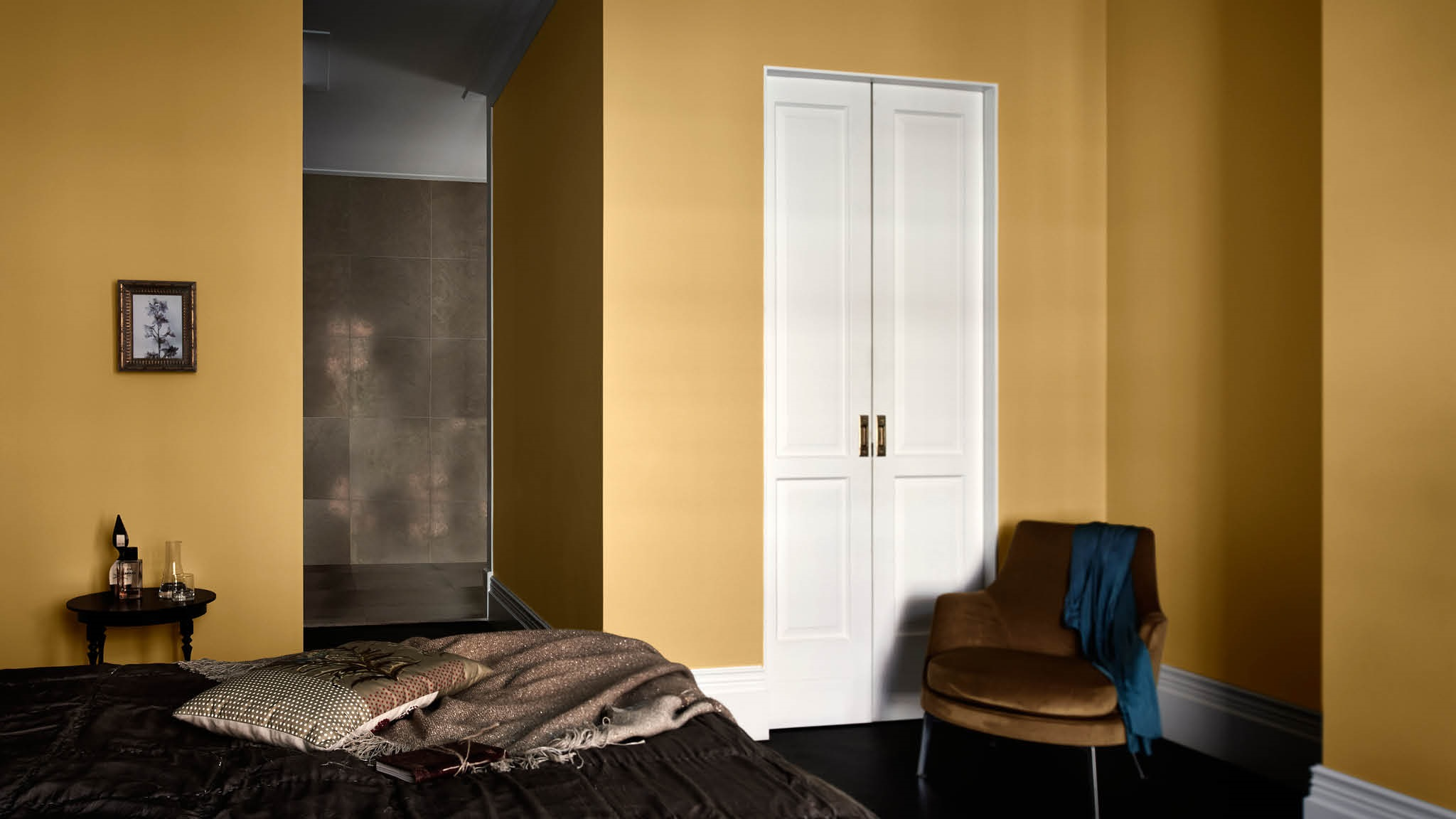 Chambre A Coucher Moderne Jaune Et Metal