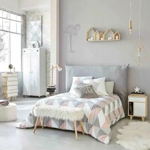 Chambre Grise Et Blanche Et Touche De Pastel