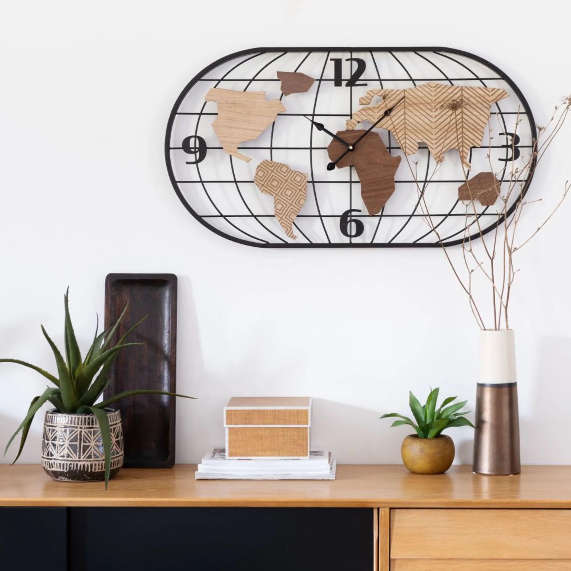 Durban Horloge Filaire Noire Et Bois