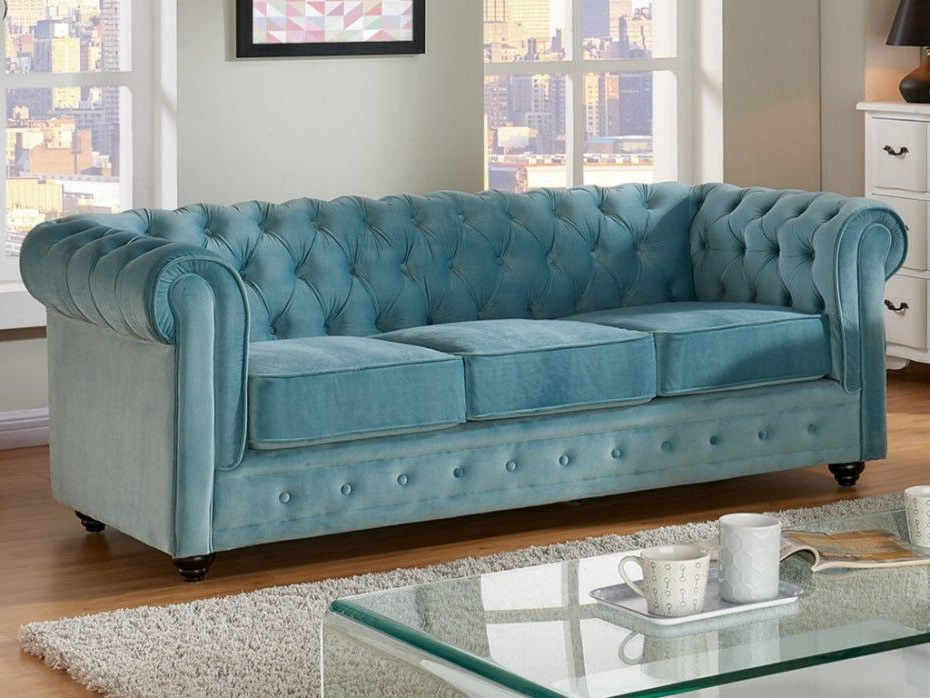 Canape Velours Pastel Chesterfield