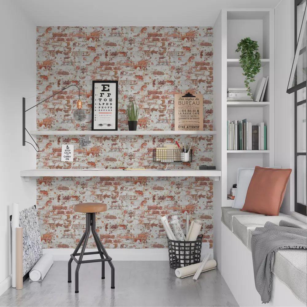 Salon Industriel Effet Brique Et Ciment