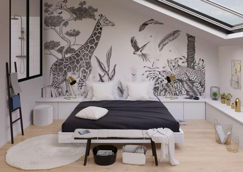 Chambre Moderne Blanche Et Grise Papier Peint Panoramique