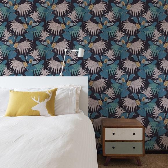 Chambre Bleu Canard Imprime Papier Peint