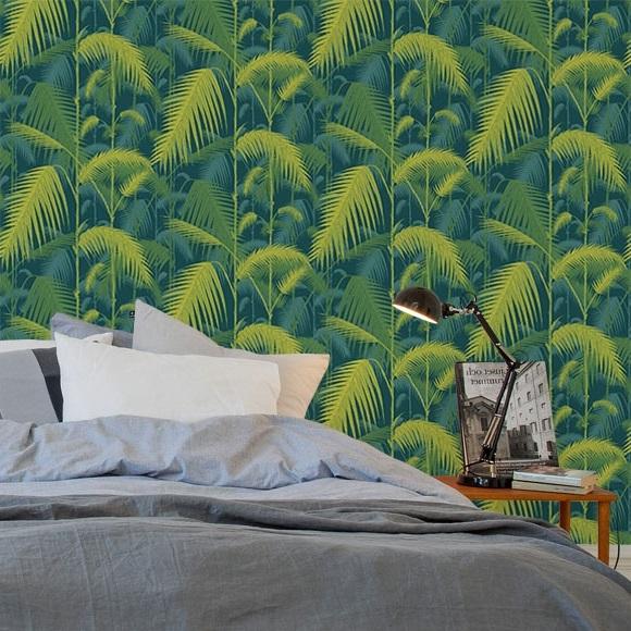 Chambre Bleu Canard Papier Peint Jungle