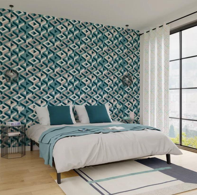 Chambre Bleu Canard Papier Peint Taupe Design Minimaliste
