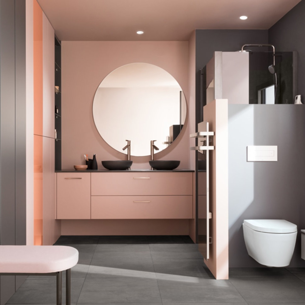 Salmón rosa de baño e gris