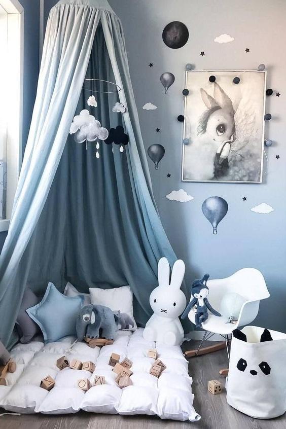 Ciel De Lit Enfant Bleu Gris