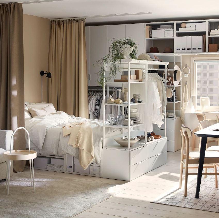 Mini Chambre Cocooning Avec Voilage Et Meuble Cloison