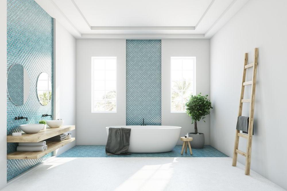 Salle De Bain Design Bleu Et Blanc