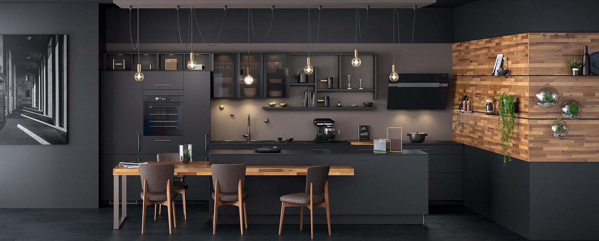 Cuisine Noir Mat Et Bois Exotique Ambiance Black