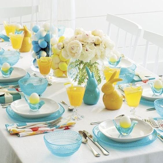 Deco Table Paques Jaune Et Bleu